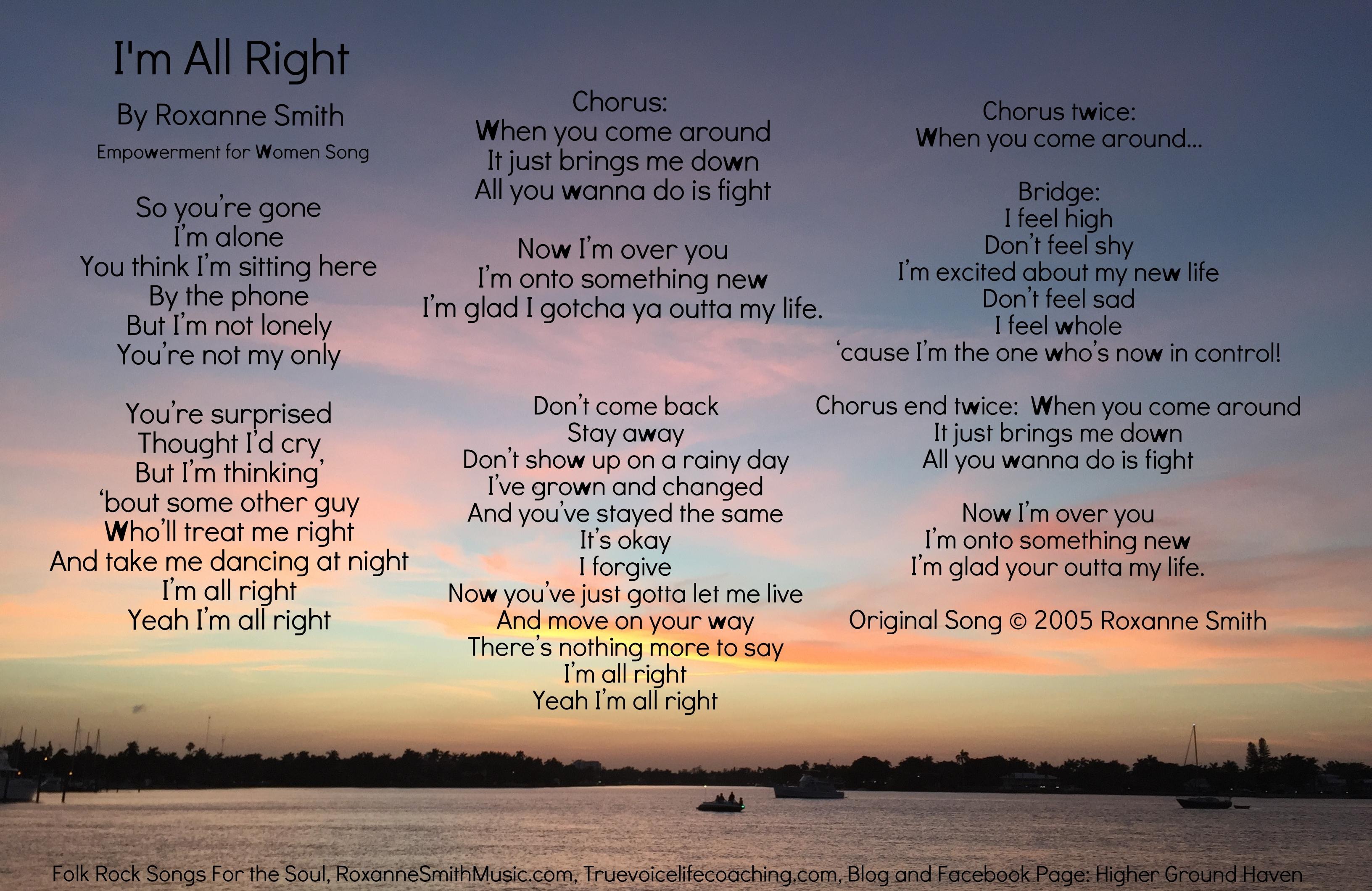 Lyric Photo--I'm All Right